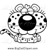 Big Cat Cartoon Vector Clipart of a Black and White Cute Drunk Leopard Cub by Cory Thoman