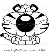 Big Cat Cartoon Vector Clipart of a Black and White Cute Drunk Tiger Cub by Cory Thoman