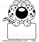 Big Cat Cartoon Vector Clipart of a Black and White Cute Leopard Cub over a Sign by Cory Thoman