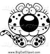 Big Cat Cartoon Vector Clipart of a Black and White Cute Sitting Leopard Cub by Cory Thoman