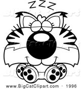 March 16th, 2016: Big Cat Cartoon Vector Clipart of a Black and White Cute Sleeping Bobcat Cub by Cory Thoman