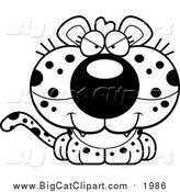 Big Cat Cartoon Vector Clipart of a Black and White Cute Sly Leopard Cub by Cory Thoman