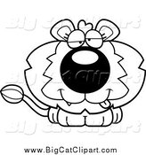 Big Cat Cartoon Vector Clipart of a Black and White Dumb Lion by Cory Thoman