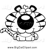Big Cat Cartoon Vector Clipart of a Black and White Dumb Tiger Cub by Cory Thoman