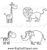 Big Cat Cartoon Vector Clipart of a Black and White Giraffe, Lion, Zebra and Elephant by Hit Toon