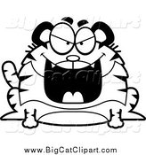 October 4th, 2014: Big Cat Cartoon Vector Clipart of a Black and White Grinning Evil Chubby Tiger by Cory Thoman