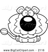 Big Cat Cartoon Vector Clipart of a Black and White Happy Cute Lion by Cory Thoman