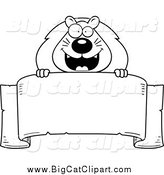 Big Cat Cartoon Vector Clipart of a Black and White Happy Lion over a Banner by Cory Thoman