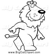 Big Cat Cartoon Vector Clipart of a Black and White Happy Lion Walking Upright by Cory Thoman