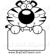 Big Cat Cartoon Vector Clipart of a Black and White Happy Tiger Cub over a Sign by Cory Thoman