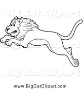 Big Cat Cartoon Vector Clipart of a Black and White Leaping Lion by Lal Perera