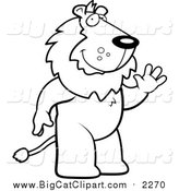 April 4th, 2016: Big Cat Cartoon Vector Clipart of a Black and White Lineart Friendly Lion Standing and Waving by Cory Thoman