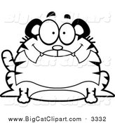 Big Cat Cartoon Vector Clipart of a Black and White Lineart Happy Chubby Tiger by Cory Thoman