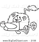 Big Cat Cartoon Vector Clipart of a Black and White Lineart Lazy or Sick Lion by Toonaday