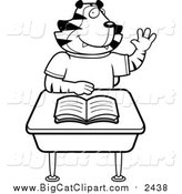 Big Cat Cartoon Vector Clipart of a Black and White Lineart Tiger Student Raising His Hand at a Desk by Cory Thoman