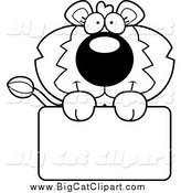 August 10th, 2014: Big Cat Cartoon Vector Clipart of a Black and White Lion Holding a Sign by Cory Thoman