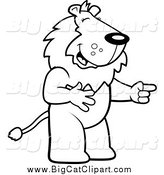 Big Cat Cartoon Vector Clipart of a Black and White Lion Laughing by Cory Thoman