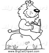Big Cat Cartoon Vector Clipart of a Black and White Lion Reading a Book on a Rock by Cory Thoman