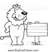 Big Cat Cartoon Vector Clipart of a Black and White Lion Standing by a Blank Wood Sign by Cory Thoman