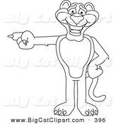 Big Cat Cartoon Vector Clipart of a Black and White Outline of a Panther Character Mascot Pointing Left by Toons4Biz