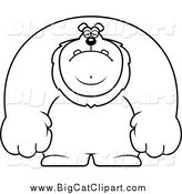 Big Cat Cartoon Vector Clipart of a Black and White Pouting Depressed Buff Lion by Cory Thoman