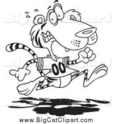 Big Cat Cartoon Vector Clipart of a Black and White Retreating Tiger by Toonaday