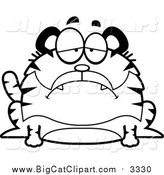 Big Cat Cartoon Vector Clipart of a Black and White Sad Chubby Tiger by Cory Thoman