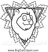 Big Cat Cartoon Vector Clipart of a Black and White Safari Lion by Cory Thoman