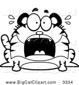 Big Cat Cartoon Vector Clipart of a Black and White Screaming Chubby Tiger by Cory Thoman