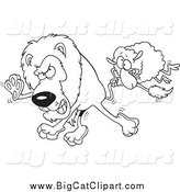 Big Cat Cartoon Vector Clipart of a Black and White Sheep Attacking a Lion by Toonaday
