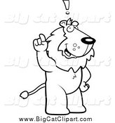 Big Cat Cartoon Vector Clipart of a Black and White Smart Lion Exclaiming by Cory Thoman