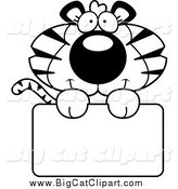 Big Cat Cartoon Vector Clipart of a Black and White Tiger Holding a Sign by Cory Thoman