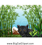 Big Cat Cartoon Vector Clipart of a Black Panther in a Bamboo Patch by Graphics RF