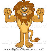 Big Cat Cartoon Vector Clipart of a Bodybuilder Lion Character Mascot Flexing by Toons4Biz