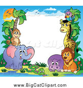 Big Cat Cartoon Vector Clipart of a Border of Animals and a Sunset by Visekart