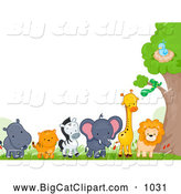 Big Cat Cartoon Vector Clipart of a Border of Cute Wild Animals by BNP Design Studio