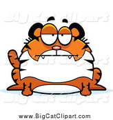 Big Cat Cartoon Vector Clipart of a Bored Chubby Tiger Sitting by Cory Thoman