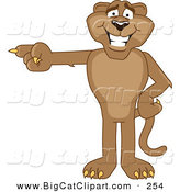 Big Cat Cartoon Vector Clipart of a Brown Cougar Mascot Character Pointing Left by Toons4Biz