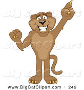 Big Cat Cartoon Vector Clipart of a Brown Cougar Mascot Character Pointing Upwards by Toons4Biz