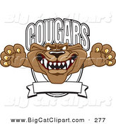 Big Cat Cartoon Vector Clipart of a Brown Cougar Mascot Character School Banner Logo by Toons4Biz