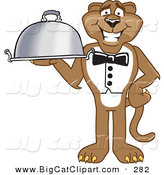 Big Cat Cartoon Vector Clipart of a Brown Cougar Mascot Character Serving a Platter by Toons4Biz