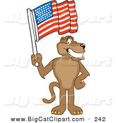 Big Cat Cartoon Vector Clipart of a Brown Cougar Mascot Character Waving an American Flag by Toons4Biz