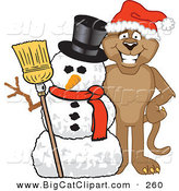 Big Cat Cartoon Vector Clipart of a Brown Cougar Mascot Character with a Snowman by Toons4Biz
