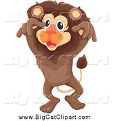 Big Cat Cartoon Vector Clipart of a Brown Lion Leaping by Graphics RF