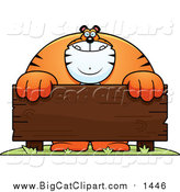 Big Cat Cartoon Vector Clipart of a Buff Tiger and a Wooden Sign by Cory Thoman