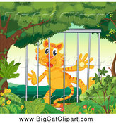April 19th, 2015: Big Cat Cartoon Vector Clipart of a Caged Tiger by Graphics RF