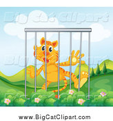 Big Cat Cartoon Vector Clipart of a Caged Tiger by Graphics RF