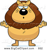 Big Cat Cartoon Vector Clipart of a Careless Plump Lion Shrugging by Cory Thoman