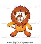 Big Cat Cartoon Vector Clipart of a Cartoon Lion Looking up by Merlinul