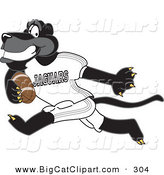 Big Cat Cartoon Vector Clipart of a Cheerful Black Jaguar Mascot Character Running with a Football by Toons4Biz